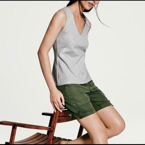 J. Crew Grey Structured V-neck Ponte Shell Top NWT